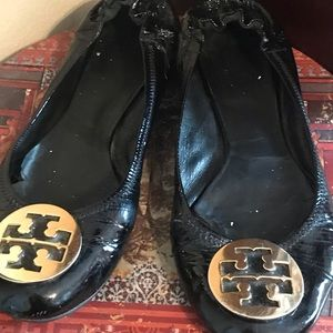 Tory Burch Flats, Black with Gold Emblem